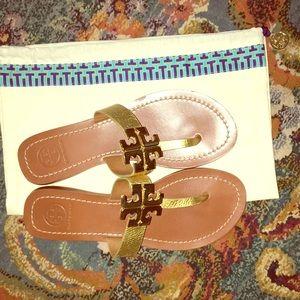 Tory Burch Moore Metallic Gold Thong Sandals